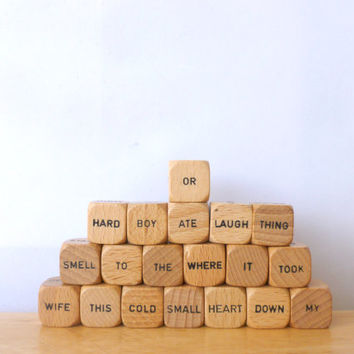 Vintage Scrabble Sentence Cubes 1970s Wood Word Dice Craft Supplies Game pieces