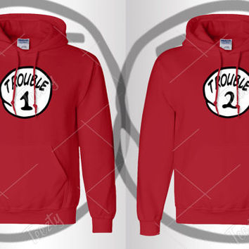 Trouble 1 Trouble 2 Hoodie Hoodies Sexy Drunk Bro Thing Series Sweatshirts Sweatshirt Tank tops T-shirts Couple Hoodies Matching Hoodies