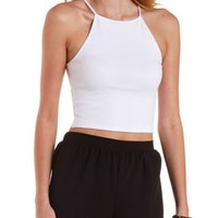 Racer Front Ribbed Crop Top by Charlotte Russe