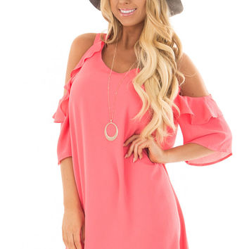 Rose Cold Shoulder Dress with Ruffle Detail