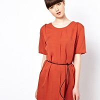 Won Hundred Frantic Silk Dress with Leather Belt