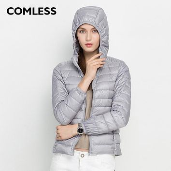 COMLESS 18 Colors Casual Ultralight Hooded Down Jackets with 90% Down Feather Warm Zip Up Women Hoodies Winter Down Coat Jacket