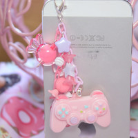 Fairy Kei Pink Game Controller Headphone Jack  Phone Charm Made To order