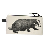 Pencil Case, Canvas Pencil Bag, Badger Pencil Case, Canvas Zip Pouch, Animal Pencil Case