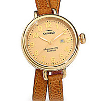 Shinola - Birdy Goldtone PVD Stainless Steel & Textured Leather Double-Wrap Watch - Saks Fifth Avenue Mobile