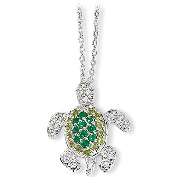 Sterling Silver Cubic Zirconia Turtle Necklace by Cheryl M