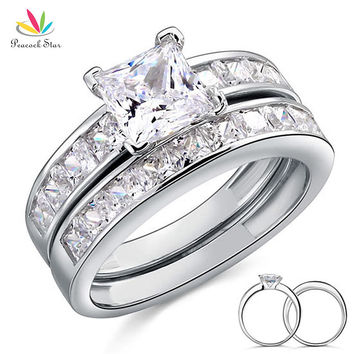 Peacock Star Solid 925 Sterling Silver 2-Pcs Wedding Engagement Ring Set 1 Ct Princess Cut Jewelry CFR8020