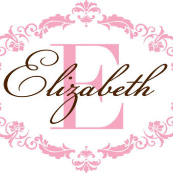 Personalized Vinyl Initial & Name Wall Decal - Shabby Chic Damask Baby Girl Nursery Monogram Toddler Teen Room 22H x 36W GN003