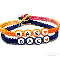 Bae Couples or Friendship Bracelets, Sherbert and Dark Blue Hemp Jewelry, Made to Order