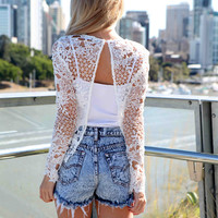 SKY DIVE LACE TOP , DRESSES, TOPS, BOTTOMS, JACKETS & JUMPERS, ACCESSORIES, 50% OFF , PRE ORDER, NEW ARRIVALS, PLAYSUIT, COLOUR, GIFT VOUCHER,,White,Print,LACE,LONG SLEEVES Australia, Queensland, Brisbane