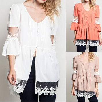 Eliza Bella for Umgee New Bell Sleeve Sheer Lace Trim Blouse Size SML