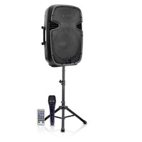 "15"" Two way Active Bluetooth Loudspeaker Package with Tripod, Speaker Stand & Microphone"