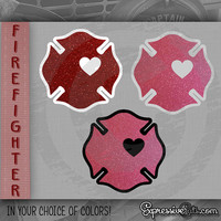 "4"" inch GLITTER Firefighter Love Maltese Cross Decal {{ Red or Pink }} Love my Firefighter!"