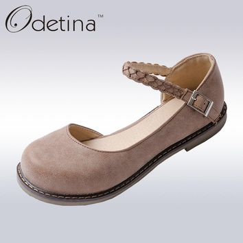 Odetina 2017 New Spring Fashion Mary Janes Womens Round Toe Buckle Strap Vintage Flat Shoes Round Toe Handmade Comfortable Flats