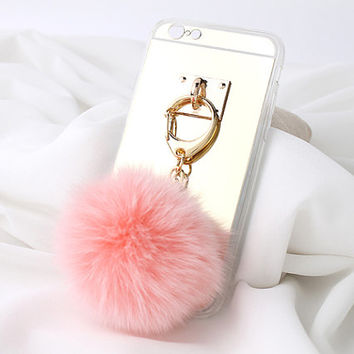 gold mirror case for iphone6, natural fox fur ball, phone cover, pink fox fur, white fox fur, bag charm, natural fox fur