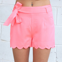 Bow Tie Scalloped Shorts {Neon Pink}