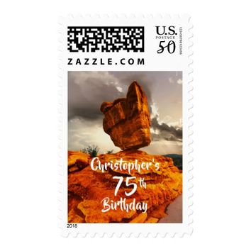75th Birthday, Balanced Rock, Personalized Postage