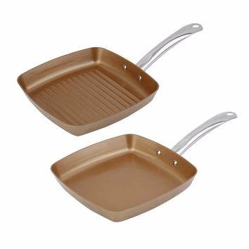 2pcs Copper Coating Bottom Frying Pans Non-Stick Square Grill Pan Multifunction Cookware Set