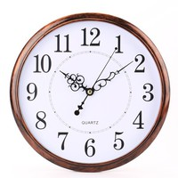 Bekith 12 inch Retro Non Ticking Silent Quartz Decorative Wall Clock