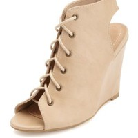 Peep Toe Lace-Up Wedges by Charlotte Russe - Natural