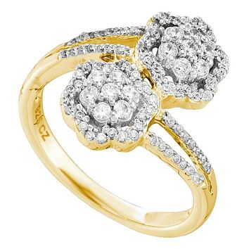 14kt Yellow Gold Women's Round Diamond Double Bypass Flower Cluster Ring 1/2 Cttw - FREE Shipping (US/CAN)