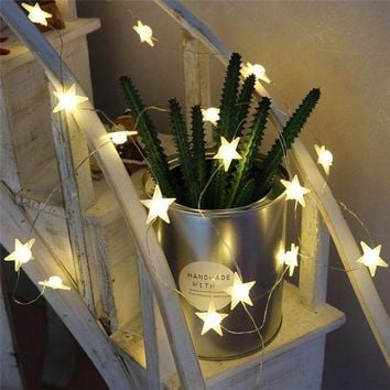 CREYL DELICORE 20 Leds Star Shaped LED Fairy String Lights Baby Home Decor Lighting For Holiday Party Decoration S146