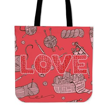 Love Knitting Linen Tote Bag