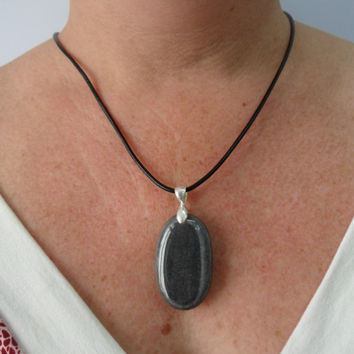 Oval Pebble Necklace, Silver Bail, Leather Cord, Stone Pendant Jewelry