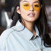 AKIRA Label Thin Metallic Frame Cat Eye Colored Lens Sunglasses in Yellow