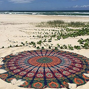 Round Table Cloth Chiffon Labhanshi Dark Red Rawyal-Indian Mandala Throw Tapestry Hippy Boho Gypsy Beach Yoga Mat 05
