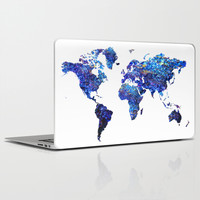 World Map blue purple Laptop & iPad Skin by Haroulita