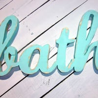 Bathroom Art - Wood Words - BATH