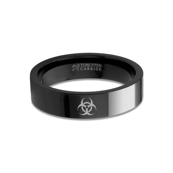 Walking Dead Zombie Biohazard Sign Engraved Black Tungsten Ring