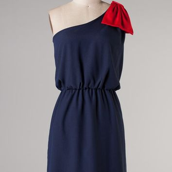 """Side Lines"" Game day Bow Dress- Navy and Red"