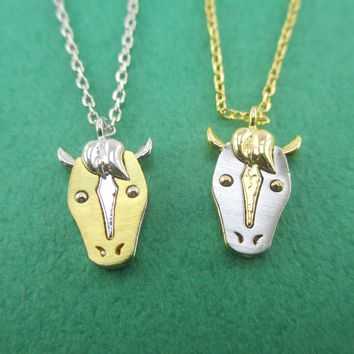 3D Horse Face with Raised Mane Shaped Pendant Necklace in Silver or Gold