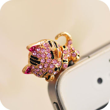 Lovely little tiger cat phone dust plug water pink floral diamond