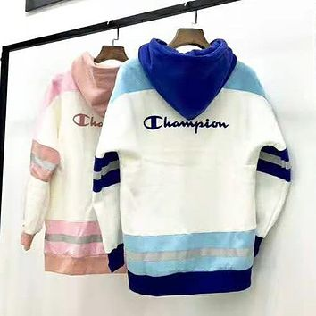 Champion Autumn And Winter New Fashion Bust Letter Print And Back Letter Print Women Men Contrast Color Long Sleeve Sweater Top