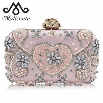 Milisente New Design Beaded Party Bags Girls Wedding Clutch Purses Flower Stereo Hasp Diamonds Princess Pink Bag
