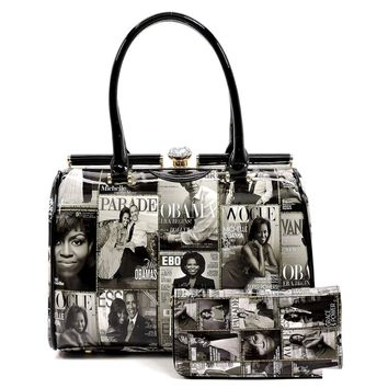 The Obama's Black and White Vegan Patent Leather Magazine Print Doctor Bag with Crystal Kiss Lock Closure and Matching W