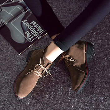 With Heel Casual Thick Crust Round-toe Boots [9432941130]