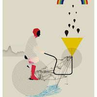 bicycle -machine that makes storms - art print
