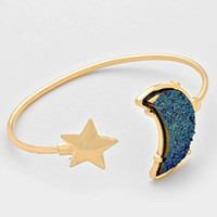 Druzy Crescent Moon & Star Cuff Bracelet - Blue