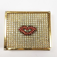 Red Lips Rhinestone Gold Tone Compact Vintage 1980s Designer Dorothy Bauer