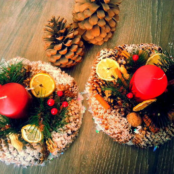 Natural handmade candlesholder. Rustic Pine Cone Wreath with dried fruits! Home decor, christmas decoration, gift,lemon dried slices