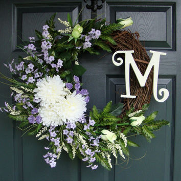 Wreath - Door Monogram - Summer Wreaths - Personalized Wreath - Front Door Wreaths - Door Wreath - Includes Complementary Wreath Hanger