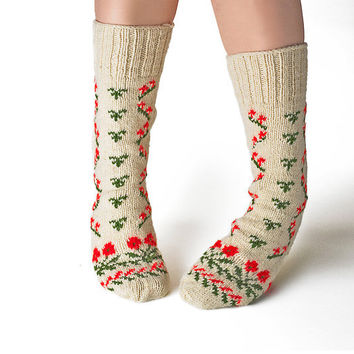 Hand Knitted Organic Wool Slipper Socks, Unisex, Red and Green, US Women's Size 7.5 to 10.5