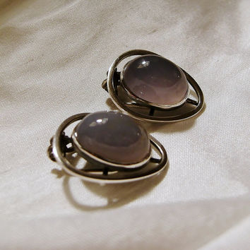 Chalcedony Sterling Earrings Modenistic Signed South Africa Designer