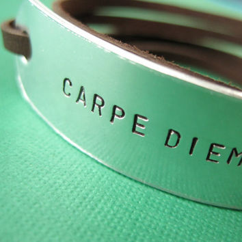 Personalized Bracelet  Carpe Diem  Seize the Day  by TesoroJewelry