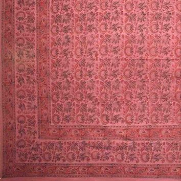 Handmade 100% Cotton Floral Block Tapestry Tablecloth Throw Coverlet Red Twin