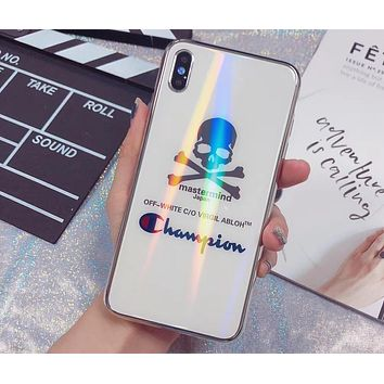 Champion x Mastermind co-branded laser mirror glass iphone6 mobile phone case cover white
